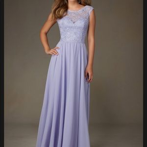Mori lee lavender chiffon lace bridesmaid dress